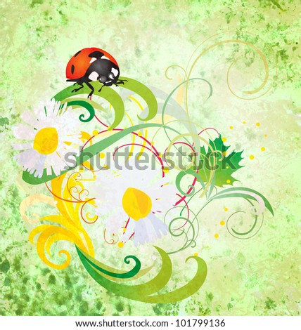 grunge illustration with ladybird and daisy flowers green vintage illustration - stock photo