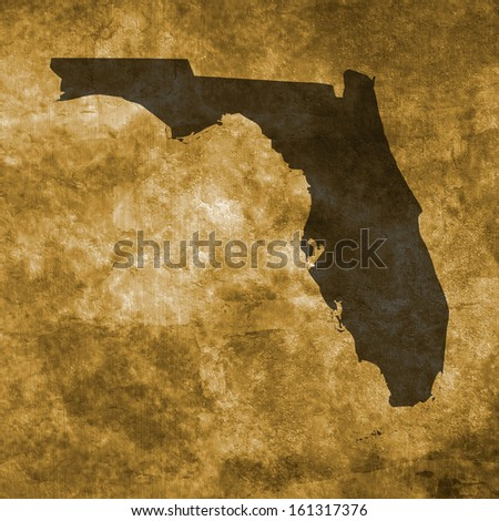 Grunge illustration with the map of Florida
