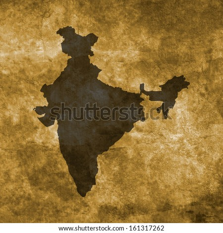 Grunge illustration with the map of India - stock photo