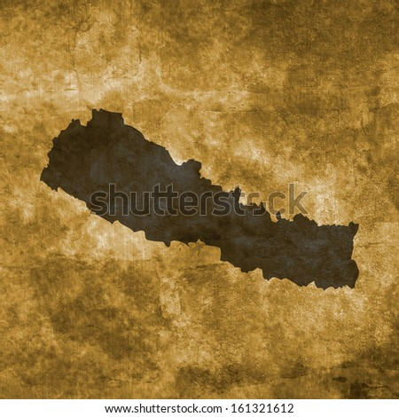 Grunge illustration with the map of Nepal - stock photo