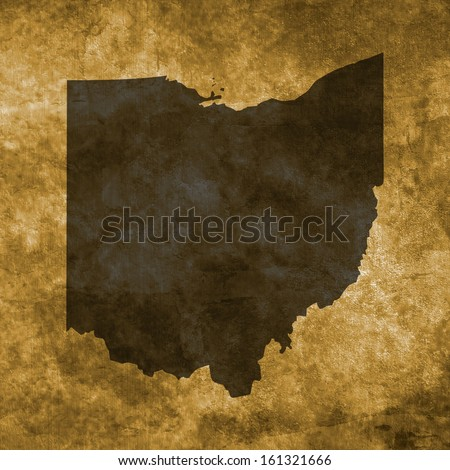 Grunge illustration with the map of Ohio