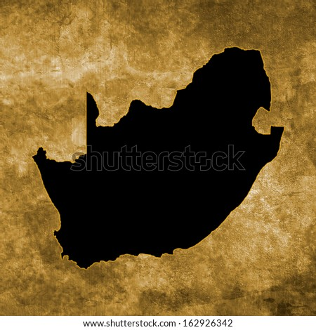 Grunge illustration with the map of South Africa - stock photo