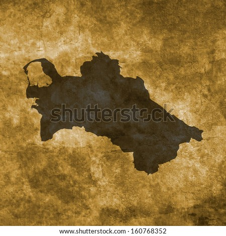 Grunge illustration with the map of Turkmenistan
