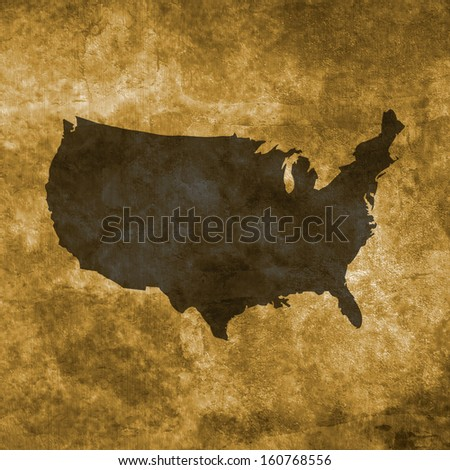 Grunge illustration with the map of United States - stock photo