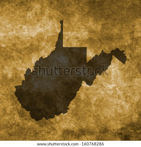 Grunge illustration with the map of West Virginia