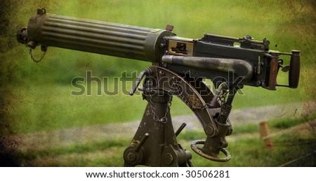 grunge image of a antique machine gun - stock photo
