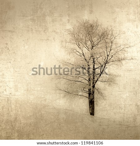 grunge image of a tree over vintage background - stock photo