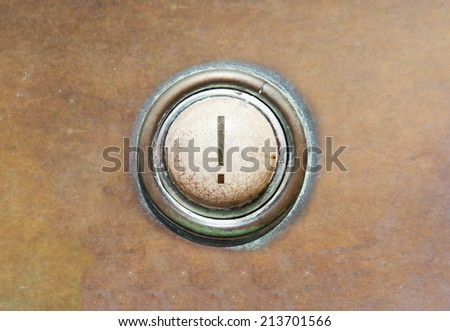Grunge image of an old button - ! - stock photo