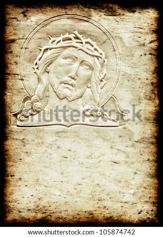 Grunge image of Jesus Christ with a crown of thorns and space for text - stock photo