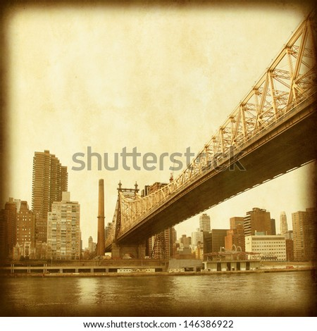 Grunge image of Queensboro Bridge in New York City. - stock photo