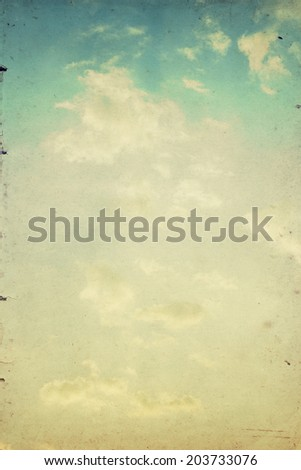 Grunge image of sky and clouds with filtered image. Vintage sky background.