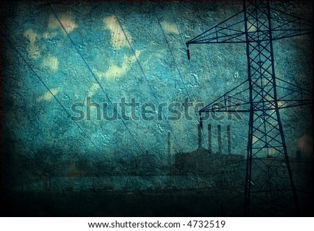 Grunge Industry Power lines factory