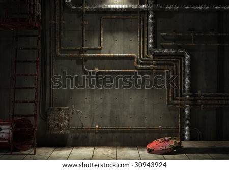 grunge interior room of an abandoned industrial warehouse showing a concrete wall with lots of pipes, stairs and a garbage can. Check my gallery for more images of the kind. - stock photo