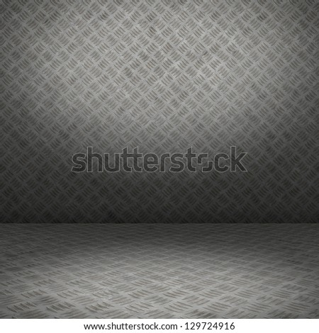 Grunge interior with metal floor and wall useful as background