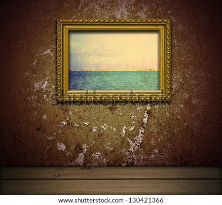 grunge interior with vintage landscape painting