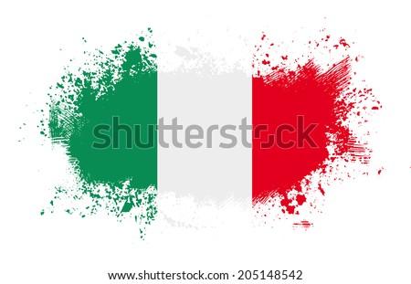 Grunge italian ink splattered flag - stock photo