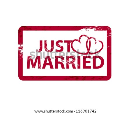Grunge just married vector stamp - stock photo