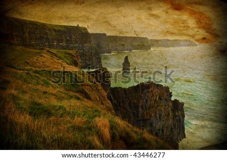grunge landscape seascape west of ireland - stock photo