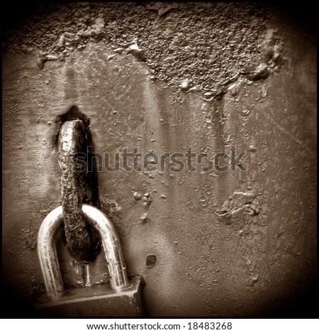 Grunge lock background - stock photo