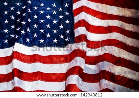 Grunge looking old USA flag - stock photo