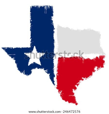 Grunge map flag of Texas - stock photo
