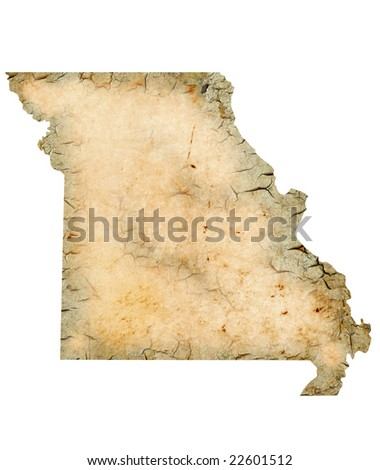 Grunge map of Missouri isolated on a white background.