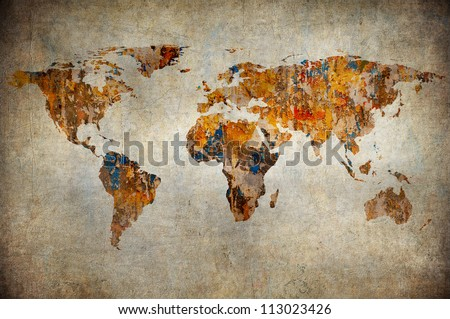 grunge map of the world - stock photo