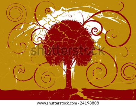 Grunge maroon and gold tree set on a cracked aged background - stock photo