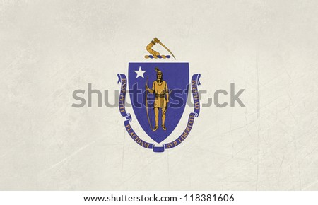 Grunge Massachusetts state flag of America, isolated on white background. - stock photo