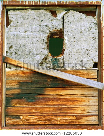 grunge metal and wood background - stock photo