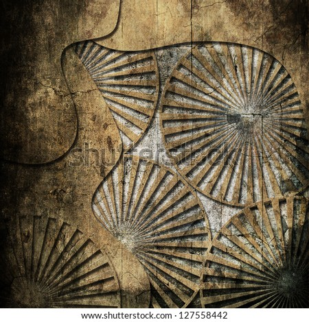 Grunge metal background with circle - stock photo