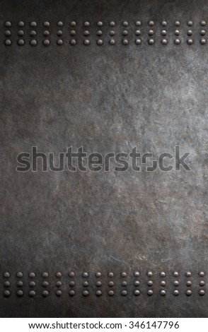 grunge metal background with rivets - stock photo