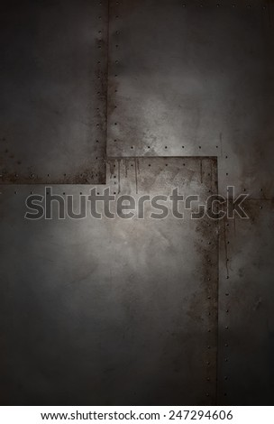 Grunge metal background with rivets and paint drips - stock photo