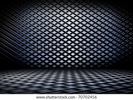 grunge metal interior, Uneven diffuse lighting version. Design component - stock photo