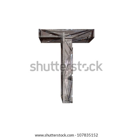 Grunge metal letter T isolated on white. With clipping path