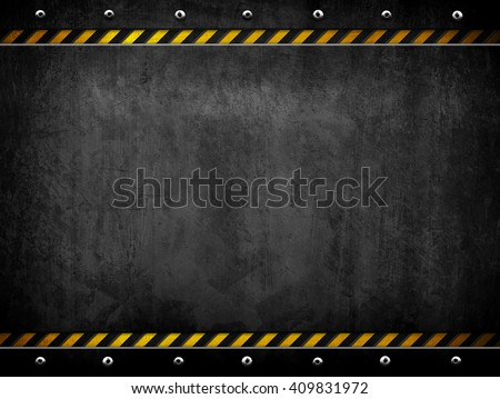 grunge metal template with warning stripe background  - stock photo