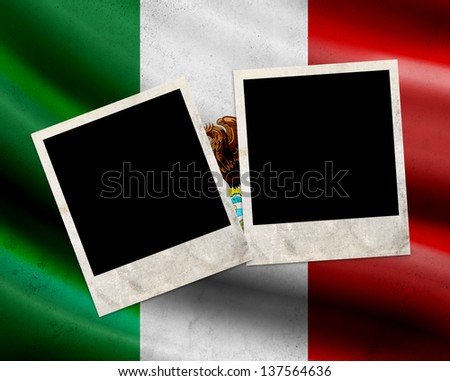 Grunge Mexico flag with photo frames - stock photo