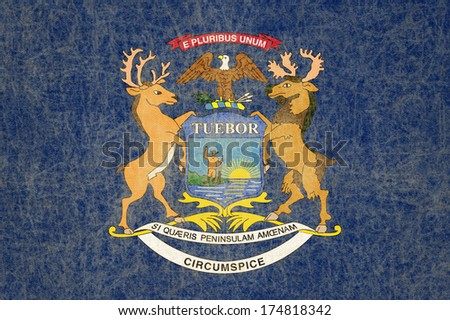 Grunge Michigan state Flag - stock photo