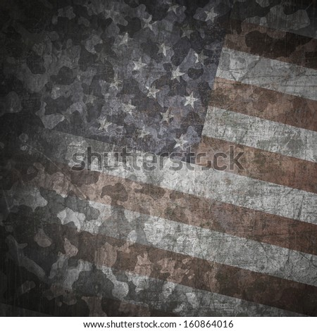 Grunge military background. Camouflage pattern over american flag, scratched - stock photo