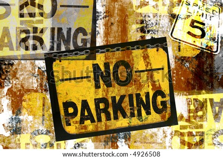 Grunge montage design of photographed No Parking and Speed Limit 5 sign - stock photo