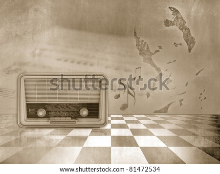 Grunge music background in vintage style with sheet music, old radio, abstract woman's face shape and checked floor - stock photo