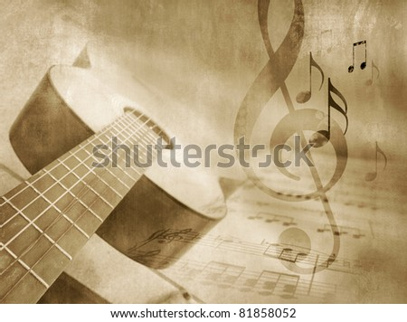 Grunge music background with guitar, sheet music and notes - musical event template in vintage style - stock photo