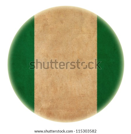 grunge  Nigeria flag drawing button