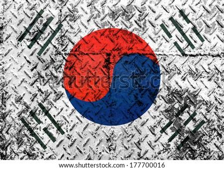 Grunge of south korea Flag  - stock photo