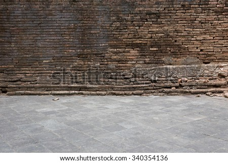 grunge old brick wall and cement floor weathered texture background