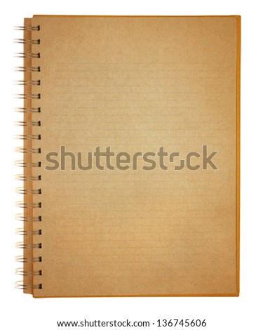 Grunge old paper note book isolated on white background