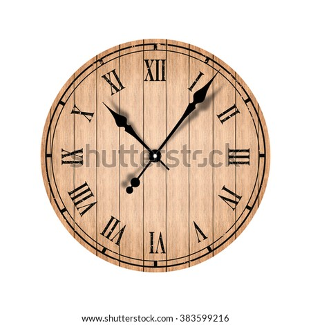 Grunge old vintage clock with wood texture  - stock photo