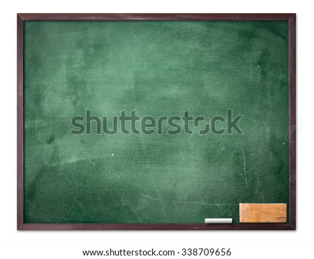 Grunge old wood board, blackboard eraser. Isolated on white background. Food Menu List Banner Classroom Training Remind Drawing Preaching Chalk Notice Mockup Go Green Spring Plan Border concept - stock photo