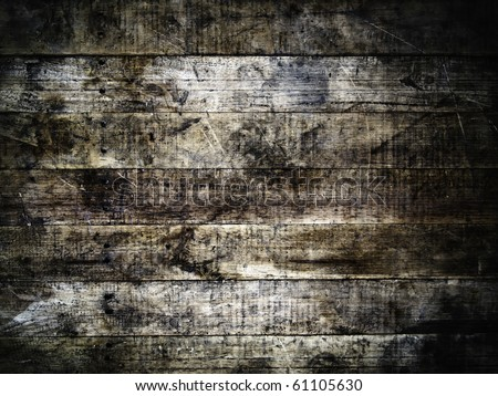 grunge old wood wall background - stock photo