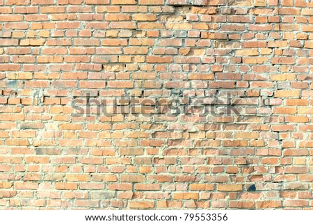 Grunge orange brick wall background texture - stock photo
